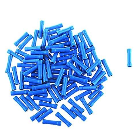 MagiDeal 100 Stk. Blau Isoliert Kabelverbinder Crimpverbinder Flachsteckhülsen Draht Stoßverbinder Rundstecker