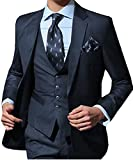 O.D.W Herren Übergrößen Anzug Männeranzug Hochzeit 3-Teilig Slim Fit Herrenanzug für Männer Business mit Sakko Weste Hose (Navy Blau,54)