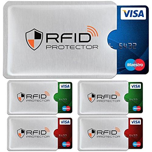 TRAVANDO ® RFID-Schutzhülle Set (5 Stück) für Bankkarte, EC-Karte, Personalausweis, Kreditkarten - 100{365522a96df95616522c1acc2753316de4c736f3701c35de3ee50143900c5e5f} Datenschutz durch Kreditkartenhülle/Kartenschutzhülle + 5 Farb-Sticker + GRATIS E-Book,Orange