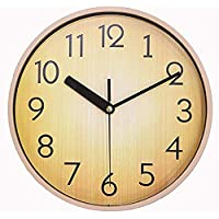 AIHANEN Home Wall Clock - Silent Retro Round Classic 10 Inch Wood Brown Clock for Office & School