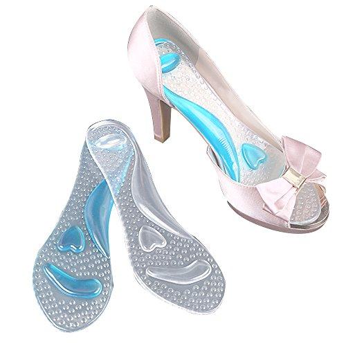 Tcare 1pair foot massage care antiscivolo sandali pastiglie gel di silicone scarpe con tacco alto cuscinetti plantari cuscino plantare (trasparente)