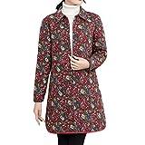 JMETRIC Vintage Baumwolljacke Mantel Mode langärmeligen Revers Blumendruck Langen Mantel