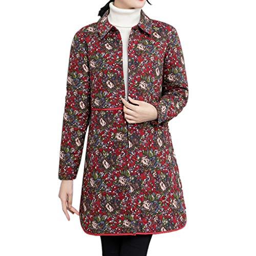 JMETRIC Vintage Baumwolljacke Mantel Mode langärmeligen Revers Blumendruck -