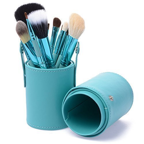 KanCai 12pcs Professional Make up Brushes Set Cosmetic Make up Tool Kit with Cup Holder Case (Green) by KanCai