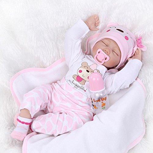 Nicery Reborn Baby-Puppe Weich Simulation Silikon Vinyl 22 Zoll 55 cm magnetisch Mund lebensechte Boy Girl Mädchen Spielzeug Rosa Weiße Augen schließen - Baby Simulator