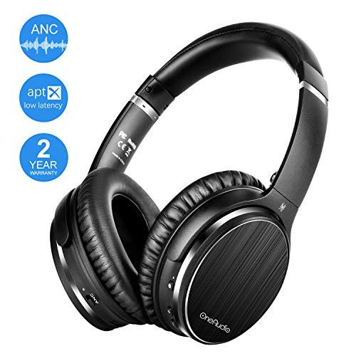 OneAudio Active Noise Cancelling Bluetooth Kopfhörer Kabellos Over Ear Headphone mit Mikrofon CSR64215 Chip Apt-X HiFi-Stereo Low Latency, Faltbare weiche Protein-Ohrpolster für die Reise TV Handy PC