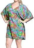 LA LEELA Robe de Plage Femme Ete Bohême 3D HD Tuniques Casual Blouse Bikini Cover Up Dentelle Paréo Couverture Maillots de Bain Swimsuit Beachwear Mini Dress Multicolore_M687