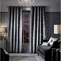 """Kylie Minogue Grazia Silver Grey Quilted Velvet Sequin 90"""" X 90"""" - 229cm X 229cm Ring Top Curtains from Kylie Minogue"""