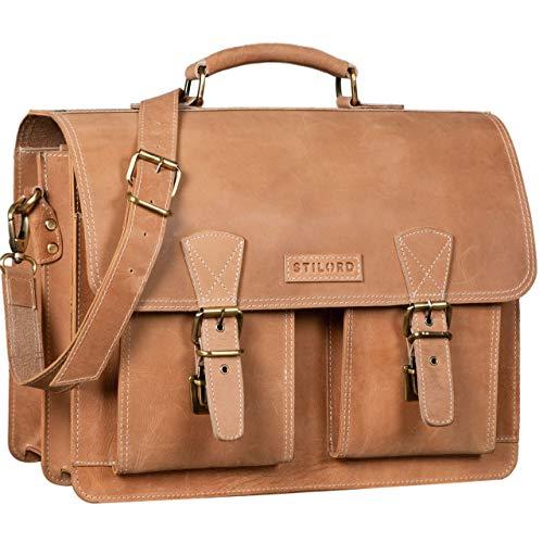 STILORD 'Jeffrey' Lehrertasche Aktentasche Leder Große Vintage Ledertasche zum Umhängen 15.6 Zoll Laptop Tasche für Schule Uni Business Trolley Aufsteckbar, Farbe:Princeton - braun -