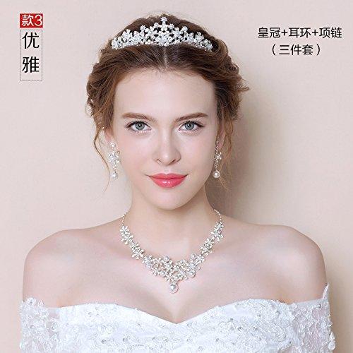 Krone, Braut Krone, Halskette, Ohrringe drei Anzug, Schmuck neue Hochzeit Zubehör, Perlen Schmuck, Eleganz Krone Halskette (Kostüm Mit Design Ohrring Einem Mädchen Perle)