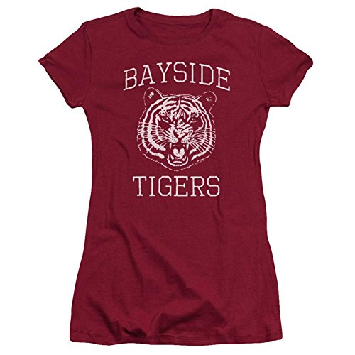 Saved By The Bell Sitcom Series Bayside Tigers Logo Juniors Sheer T-Shirt - Rot - Mittel -