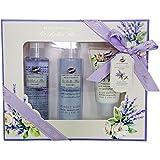 Gloss!, Set da regalo con prodotti per il bagno 'Les Belles Fleurs' su vassoio, aroma: Lavanda, 5 pz.
