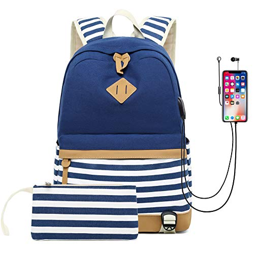 Schulranzen für Teenager Mädchen Schulrucksack Canvas Rucksack Laptop Büchertasche Umhängetasche Wandern BSG mit USB-Ladeanschluss Blau blau L -