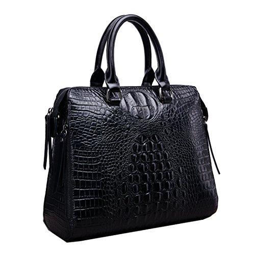 A forma di borsetta da donna in pelle di coccodrillo Missmay Purse Satchel Tote Shoulder Bag vacchetta westhome Work cross body Nero (nero)