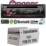 FIAT Punto EVO / 199 - Autoradio Radio Pioneer DEH-S310BT - Bluetooth   Spotify   CD   MP3   USB   Android   4x50Watt Einbauzubehör - Einbauset