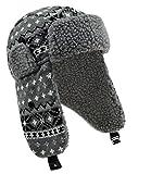 Fiebig Damenstrickmütze Strickmütze Fliegermütze Fellmütze Wintermütze Norwegermütze mit Teddyfutter für Frauen (FI-71284-W16-DA3-13-55) in Hellgrau, Größe 55 inkl. EveryHead-Hutfibel