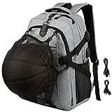 Vbiger Rucksack Herren Laptop Rucksack Reise Tagesrucksack mit Basketball Net und USB Ladefunktion für 15.6'' Zoll Notebook Grau