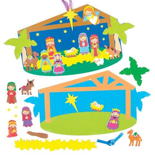 Kit rappresentazioni adesive a tema Natività con stalla per bambini, da disegnare, creare e appendere a Natale - Attività creative cristiane/religiose fai da te per bambini (confezione da 2) - Adesivo Religiosi