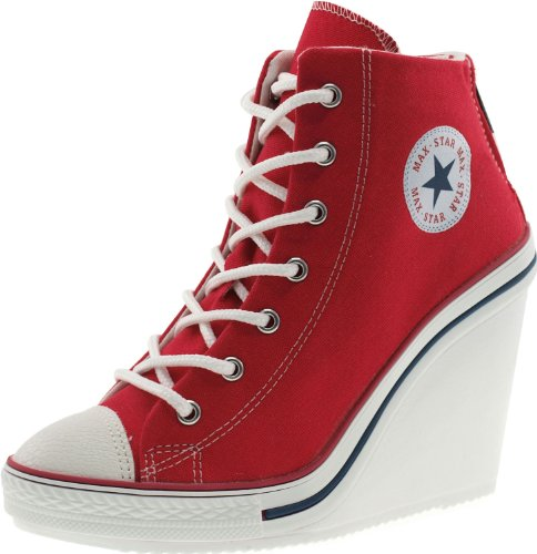 eb7b0a1049cae7 Maxstar 777 Back Zipper High-Top Wedge Heels Shoes Red UK Women 6.5