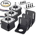 MYSWEETY 3pcs Nema17 Schrittmotor Bipolar 0.4A 26Ncm (36.8oz.in) 1.8deg mit Montage Halterung für 3D Drucker Printer/CNC (3 pack)