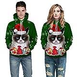 51%2B55Sg5CqL. SL160  - UFODB Christmas Sweater Herren Damen Männer Weihnachten Sweatshirt Pullover Merry Rentier Pulli Print Jumper Kapuzenpullover Hoodie Langarm Xmas Top
