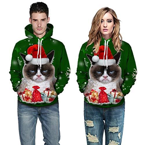 UFODB Christmas Sweater Herren Damen Männer Weihnachten Sweatshirt Pullover Merry Rentier Pulli Print Jumper Kapuzenpullover Hoodie Langarm Xmas Top