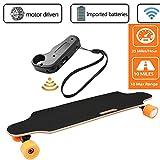 Qulista Fernbedienung Elektro Longboard Cruiser 25km/h E-Skateboards Erwachsene/Kinder, Reichweite 10 km, Elektro Skateboard belastbar bis 130kg (Schwarz)