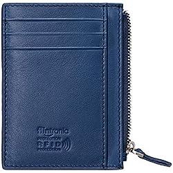 flintronic Portefeuille en Cuir, Bleu Etui RFID Blocage Porte Carte de Crédit, Zip Porte-Monnaie, Coffret Cadeau