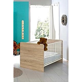 Kinderbett Babybett komplett Set ELISA inkl. Lattenrost 70 x 140 cm höhenverstellbar, in Eiche Sonoma/weiß - umbaubar zum Juniorbett - Made in Germany, 100% zertifiziert
