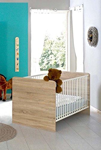 Kinderbett Babybett komplett Set ELISA inkl. Lattenrost 70 x 140 cm höhenverstellbar, in Eiche Sonoma/weiß - umbaubar zum Juniorbett - Made in Germany, 100{4165b6f667c207a4049b63fbf0c6abcd8b275613fbd06dc4f59d4c8de90806aa} zertifiziert