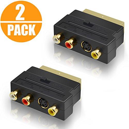 Act 2 Pack Scart Adapter 3x Cinch Buchsen in/out Umschalter und S-Video / S-VHS AV Audio, Video Adapter - Scart RCA Konverter mit vergoldeten Steckverbindern