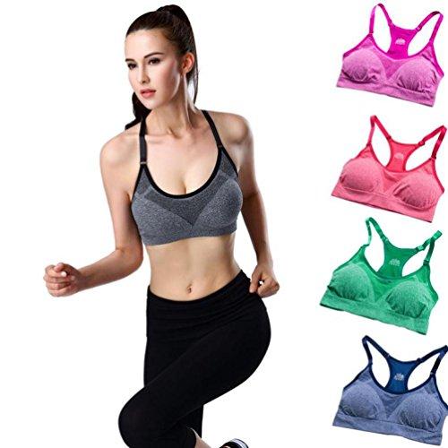 Mounter Gilet de Sport, Femme Yoga Bra Fitness Gym Taille Femme Stretch Sport Running Top Yoga Bra Soutiens-gorge Pour Femme Vert