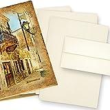ZERKALL Büttenpapier Set A4 24-tlg. 95 g/qm Mappe Briefpapier Bütten und Umschläge, echtes Wasserzeichen Papier, altweiß