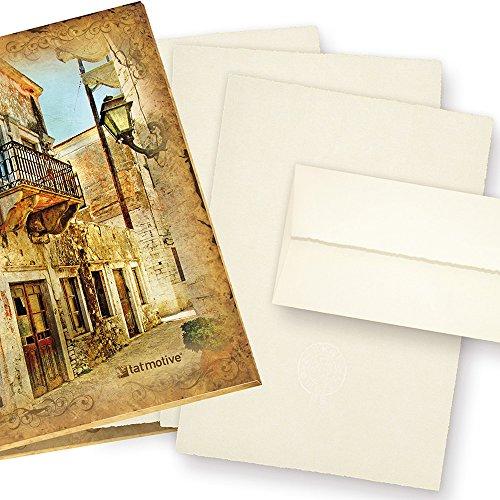 Zerkall Echt Büttenpapier Set A4 mit Wasserzeichen (24-tlg) 95 g/qm Mappe mit feinem Briefpapier Bütten mit Umschläge