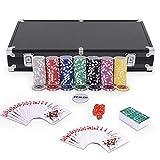 Goplus Set da Poker- 300 Chips (Cuore a Metallo) da 11,5g, 2 Mazzi di Carte, 5 Dadi, Gettoni Dealer/Small Blind/Big Blind con Valigetta in Alluminio 38,5x20,5x6,5cm (Nero)