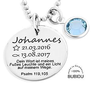 Taufkette 925 Silber Junge Gravur Taufspruch ❤️ Namenskette Taufe ❤️ Geburtsstein Taufschmuck Psalm Silberkette Taufspruch ❤️ Taufe Geschenk Patenkind | HANDMADE IN GERMANY