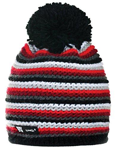 4sold - Gorro de lana unisex con diseño de llamas, con pompón y diseño holgado, de punto para hacer esquí y snowboard, mujer hombre, b-1, Twister 26, universal