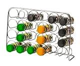 Pisa Spice Rack - Pour 24 Jars Bouteilles Flacons - Porte-épices étagère à épices Chromé De stockage Support Cuisine Organisateur - Métal