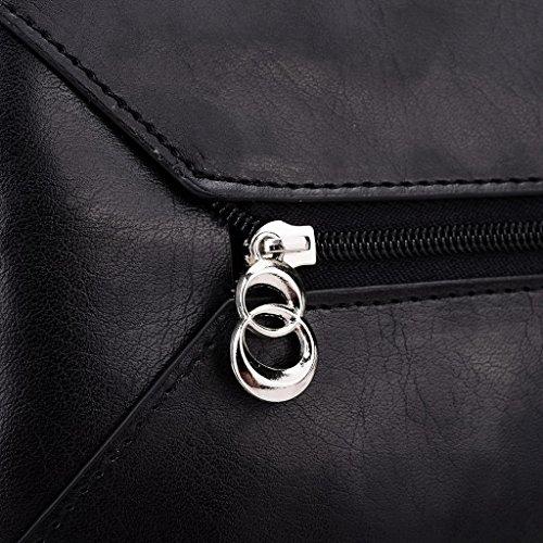 Kroo Pochette Portefeuille en Cuir de Femme avec Bracelet Coque pour ZTE ZMAX/Iconic Phablet Rose - Magenta and Blue noir - Noir/rouge