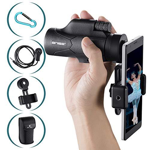 BNISE 8x32 Monocular Compacto para Adultos y Niños, Telescopio con Adaptador para Teléfono con Correa y Estuche de Montaje para excursiones, Viajes, Caza y Pesca