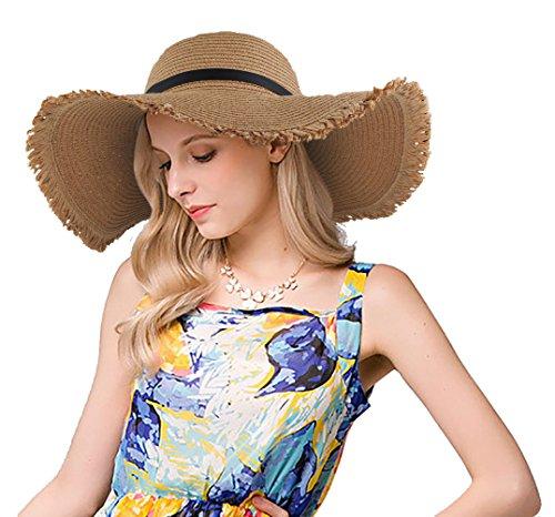 EINSKEY Sombrero Paja Mujer de Verano de ala Ancha Sombrero de Playa  Plegable (001 Beige obscuro ac58108740b