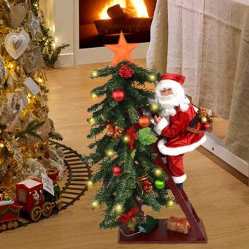 Bakaji albero di natale luminoso 15 led giallo con babbo natale su scala altezza 75cm decorazioni natalizie
