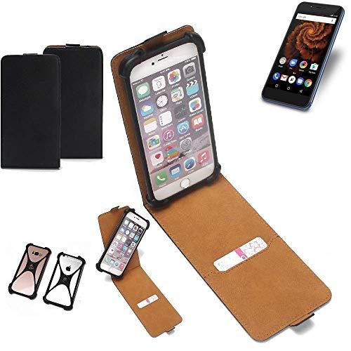 K-S-Trade Flipstyle Case für Allview X4 Soul Mini S Schutzhülle Handy Schutz Hülle Tasche Handytasche Handyhülle + integrierter Bumper Kameraschutz, schwarz (1x)