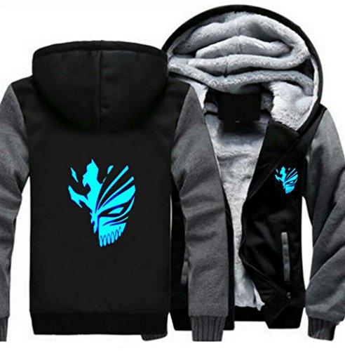 BIRDEU Winter Herren Kapuzen pullover Hoodie Leuchtend Dick Jacke Mantel Plus Samt Sweatshirt Anime Kleidung für Cosplay ()