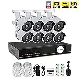 IMATEK Kit di video sorveglianza 1080P PoE,telecamera Day/Night Bullet IR 8pcs, collegato con registratore NVR in H.264(disco rigido da 2 TB incluso preinstallato)