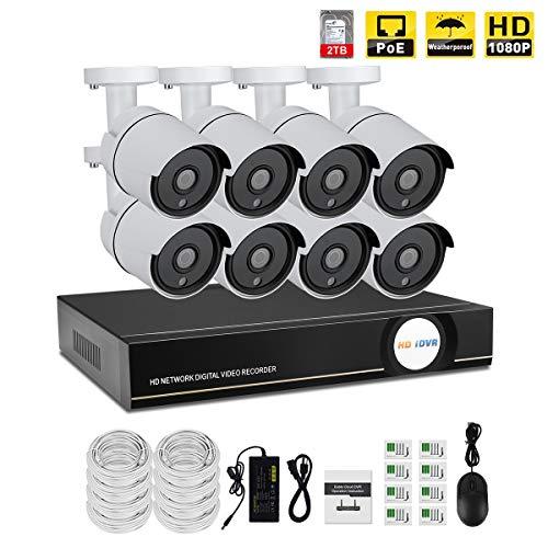 IMATEK Hausüberwachungssystem 1080P, 8 Kanäle PoE NVR Kit w / 8PCS 1080P Wetterfeste Kugel IP-Kameras, Fernüberwachungssystem, 2TB HDD preinstalled. - Ip-kamera-kit