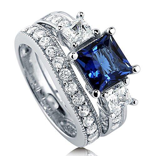 BERRICLE  -  Sterling-Silber 925  Sterling-Silber 925 Prinzess   blau Oxyde de Zirconium