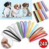 Yaheetech Welpenhalsbänder in 12 Farben Wiederverwendbar Hundehalsband Bequem Welpen ID für Welpen Hündchen (24 Stk.)