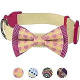 Blueberry Pet Valentins Herz und Streifen Handgefertigte Fliege Hundehalsband in Cremefarben, M
