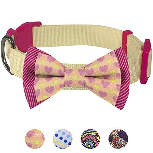 Blueberry Pet Valentins Herz und Streifen Handgefertigte Fliege Hundehalsband in Cremefarben, S